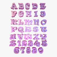 alphabet letter characters 3d model