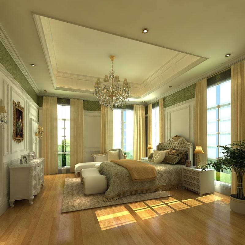 luxury bedroom bed 3d model