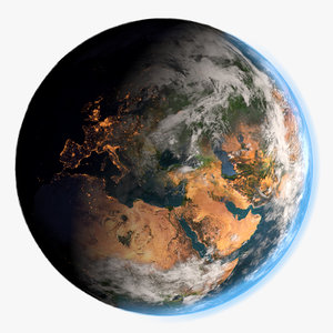 3d model city lights earth surface