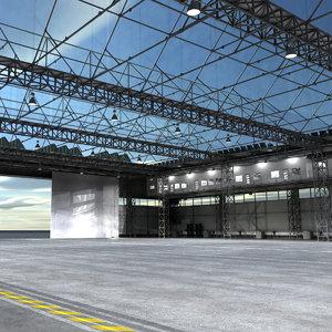 industrial building warehouse hangar 3d obj