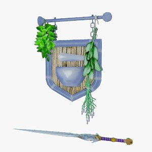 legendary sword trade sign 3d dxf