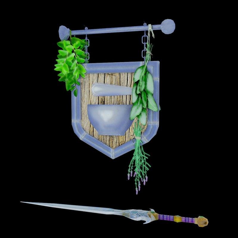 legendary sword trade sign 3d dxf