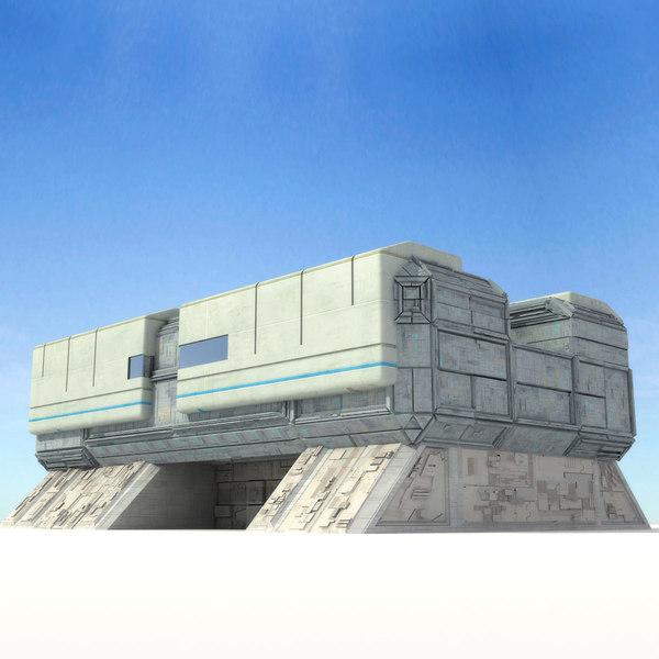 sci fi futuristic building 3d x
