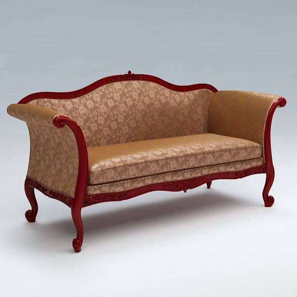 3d model old fashioned sofa