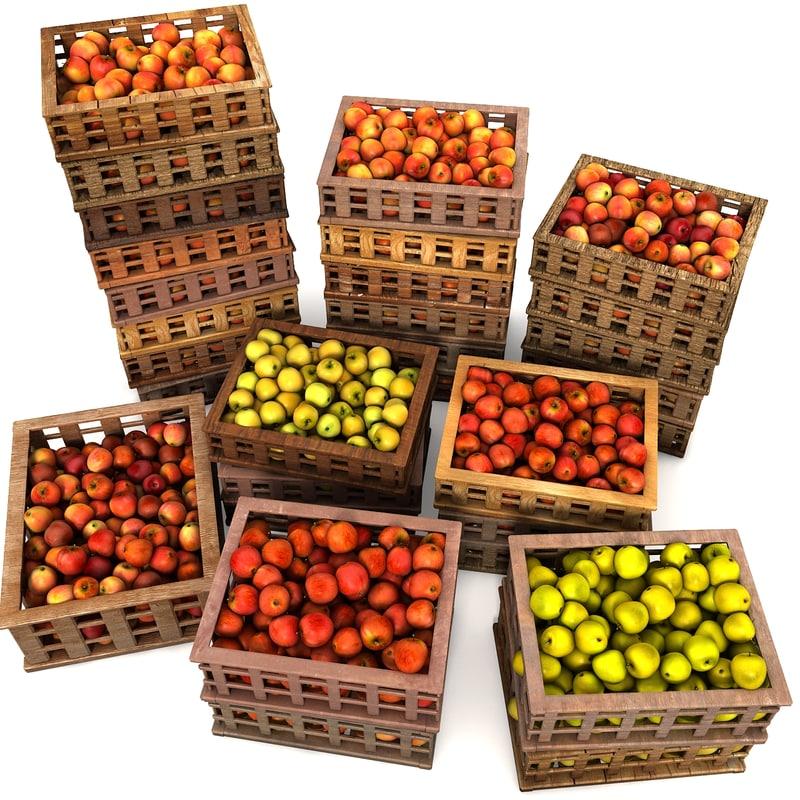 crate apples 3d model
