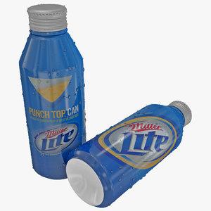 miller lite aluminum bottle 3d model