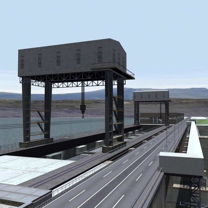 3d model dam power lines