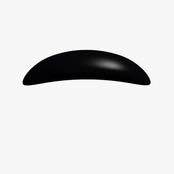 paintbrush style mustache 3d obj