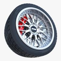 3d model porsche wheel tire brake disk