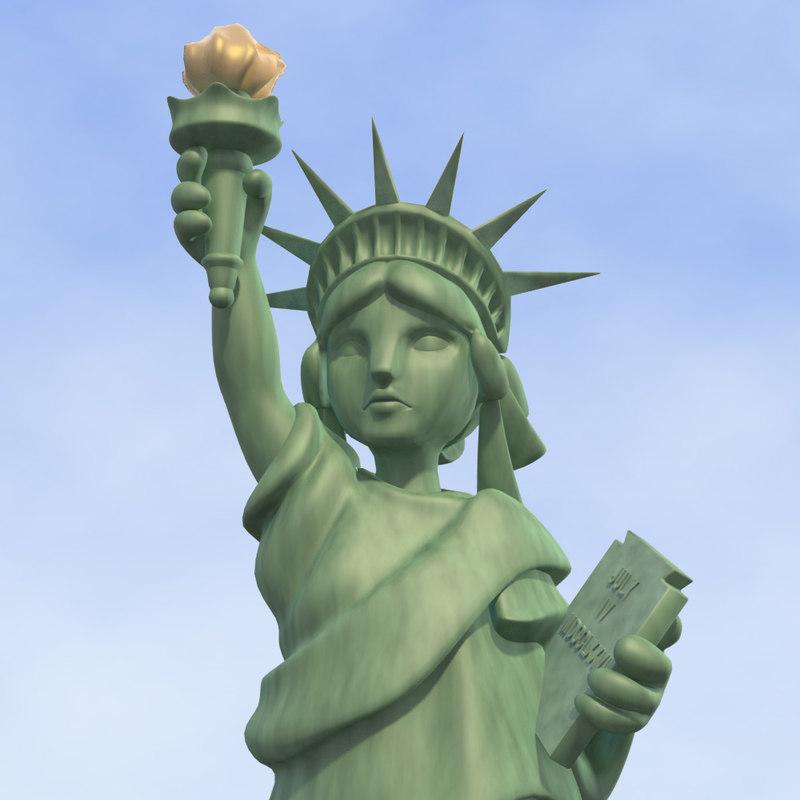 cartoon statue liberty 3d lwo
