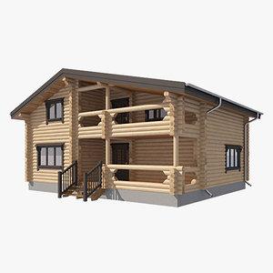 3d model of log house