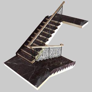 3ds classic marble stairs