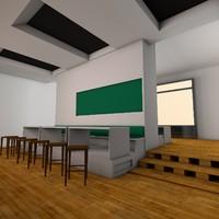 fast food restaurant interior 3d c4d