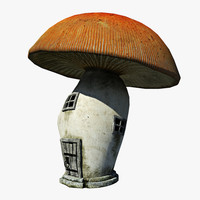 cartoon mushroom house 3d max