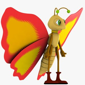 3d model butterfly character fly