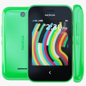 nokia asha 230 green 3d model