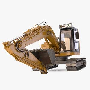 3d rigged excavator model