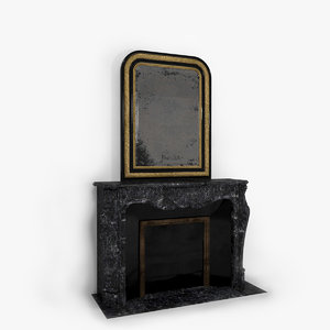 antique french fireplace 3d model
