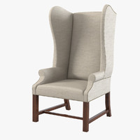 French Upholstered Wing Chair By Restoration Hardware