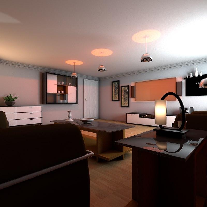 3d exquisite living room model