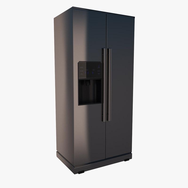 3ds max double door refrigerator