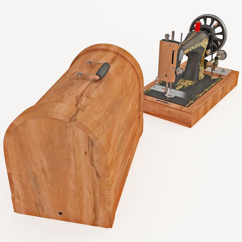 antique singer sewing machine 3d 3ds