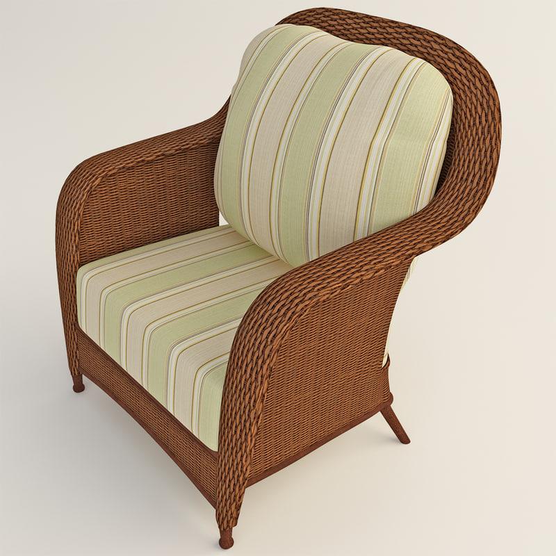 outdoor rattan armchair 2 3d 3ds