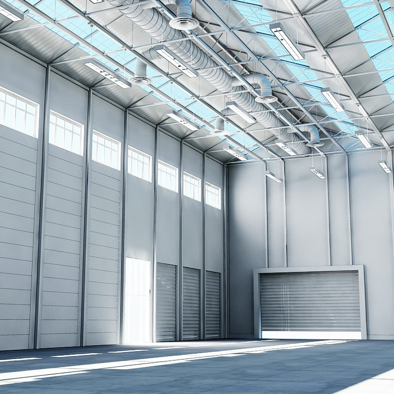 3d model large architectural warehouse interior