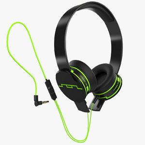 3d headphones sol republic green model