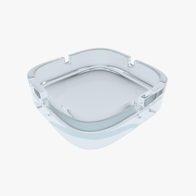 3d model glass ashtray ash