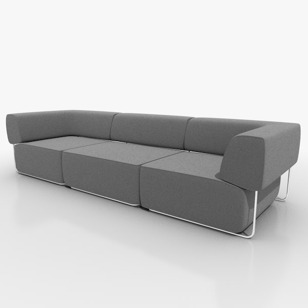 seater fabric chrome 3d 3ds