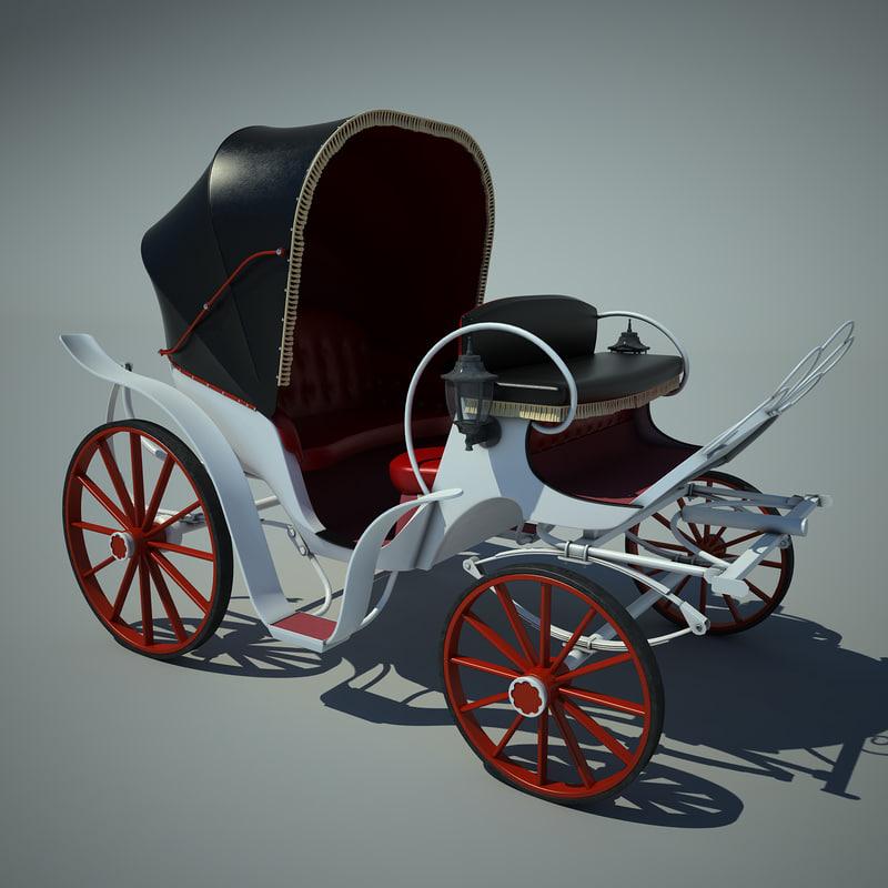 retro carriage 3d fbx