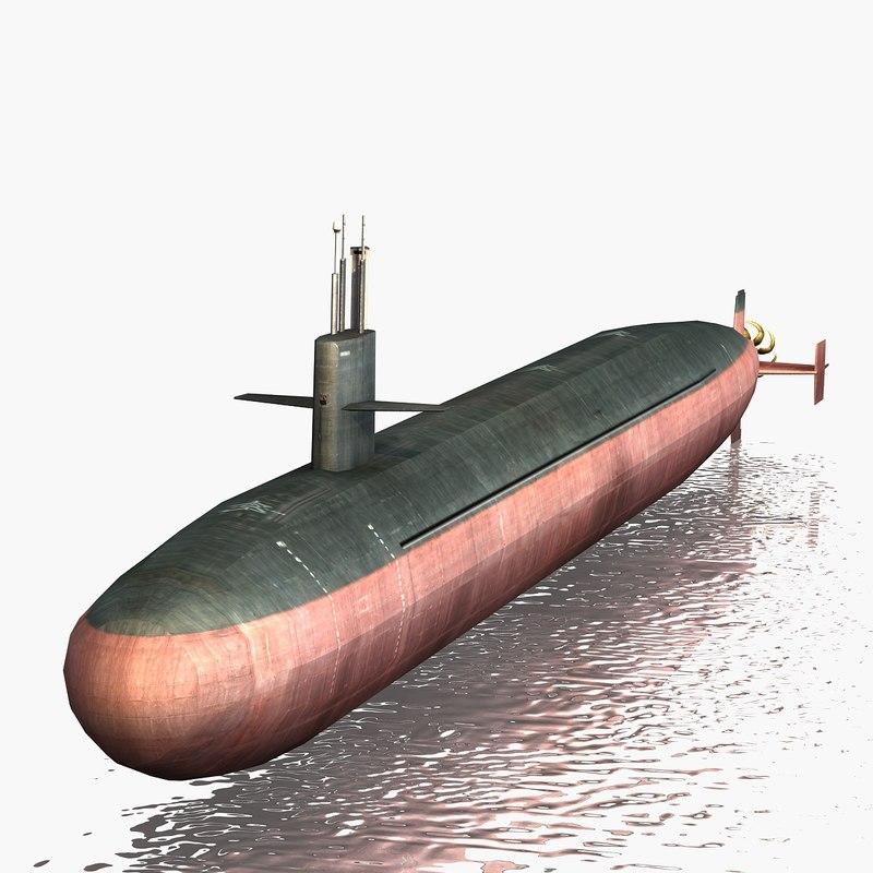 uss submarine missile 3d model