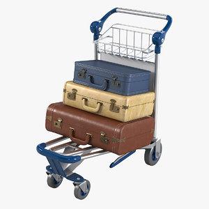 3d model loaded baggage cart