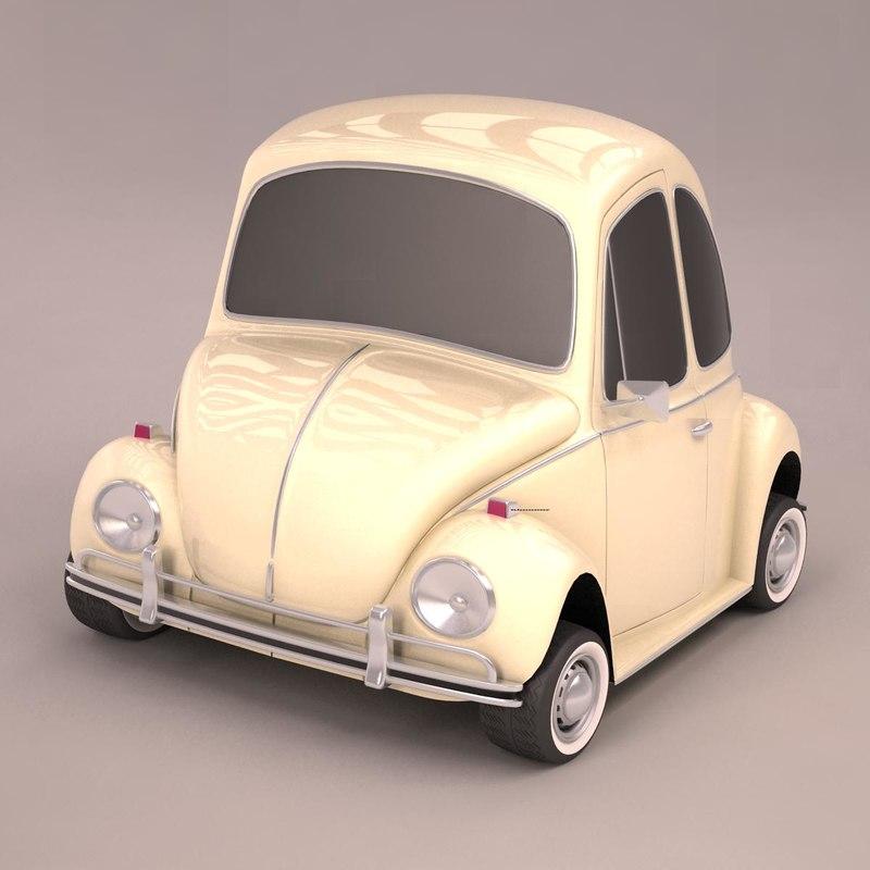 3d model volkswagen beetle toon car