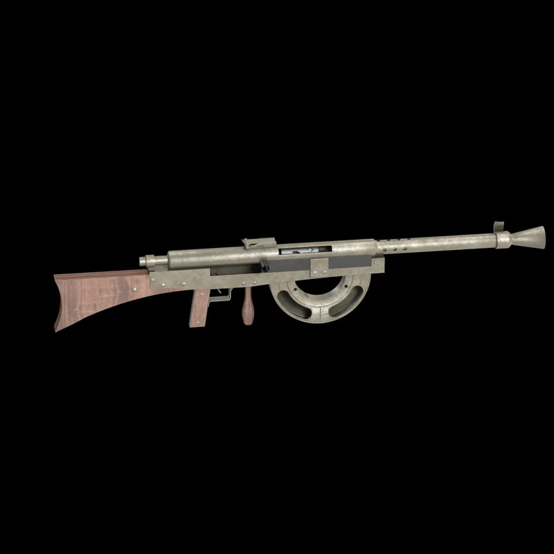 3d model chauchat machine rifle weapons
