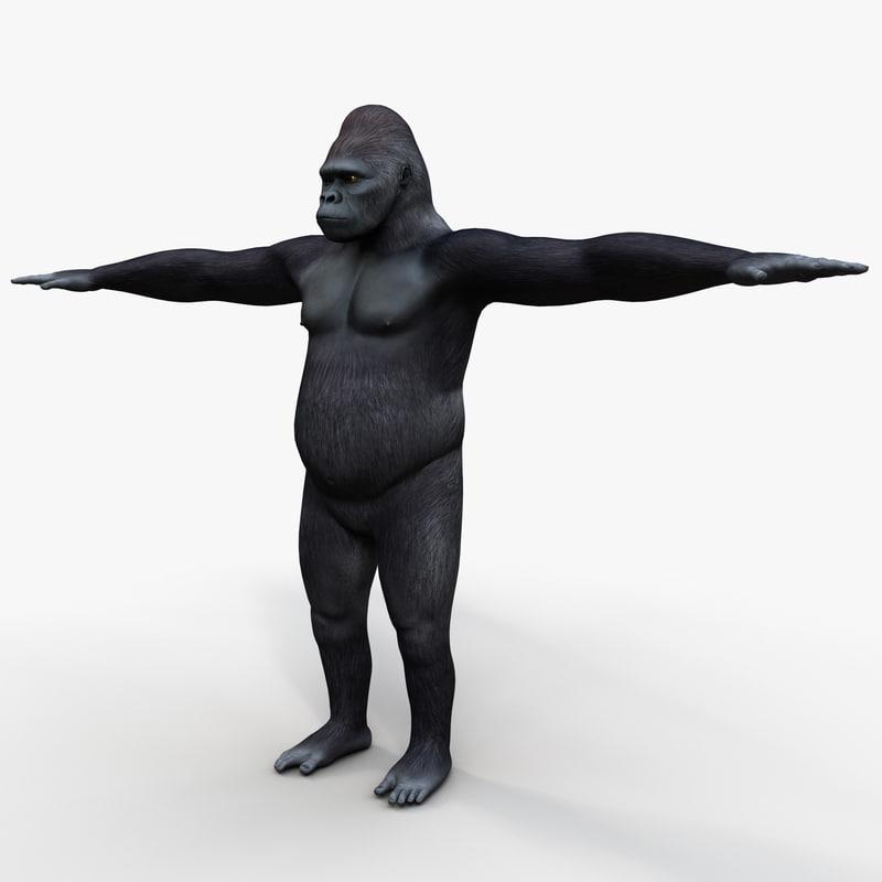 gorilla silverback primate 3d 3ds