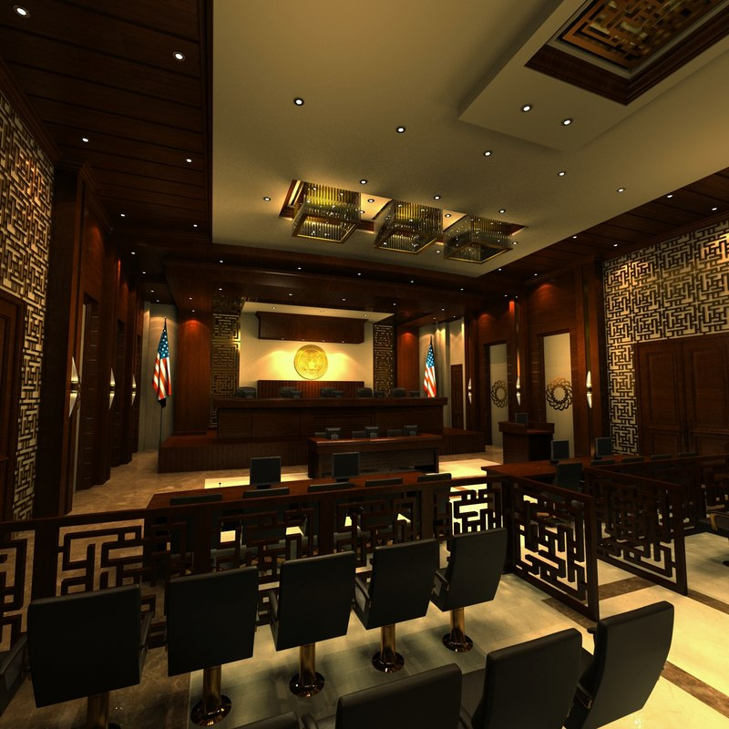 3d courtroom scene interior