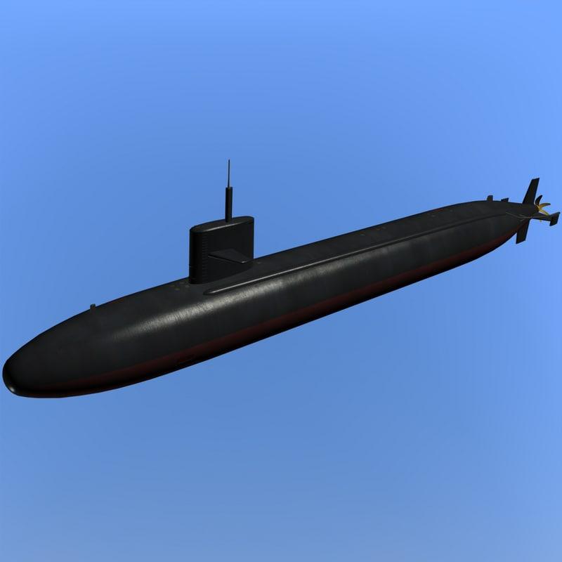 3d uss cavalla submarine model