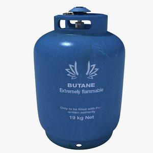 3d butane gas bottle model