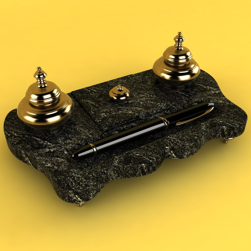 french inkwell ink 3d obj