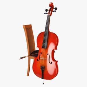 cello bow 3d 3ds