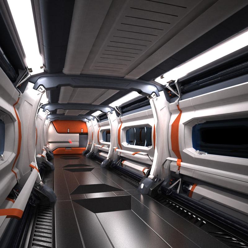 sci fi spaceship corridor max