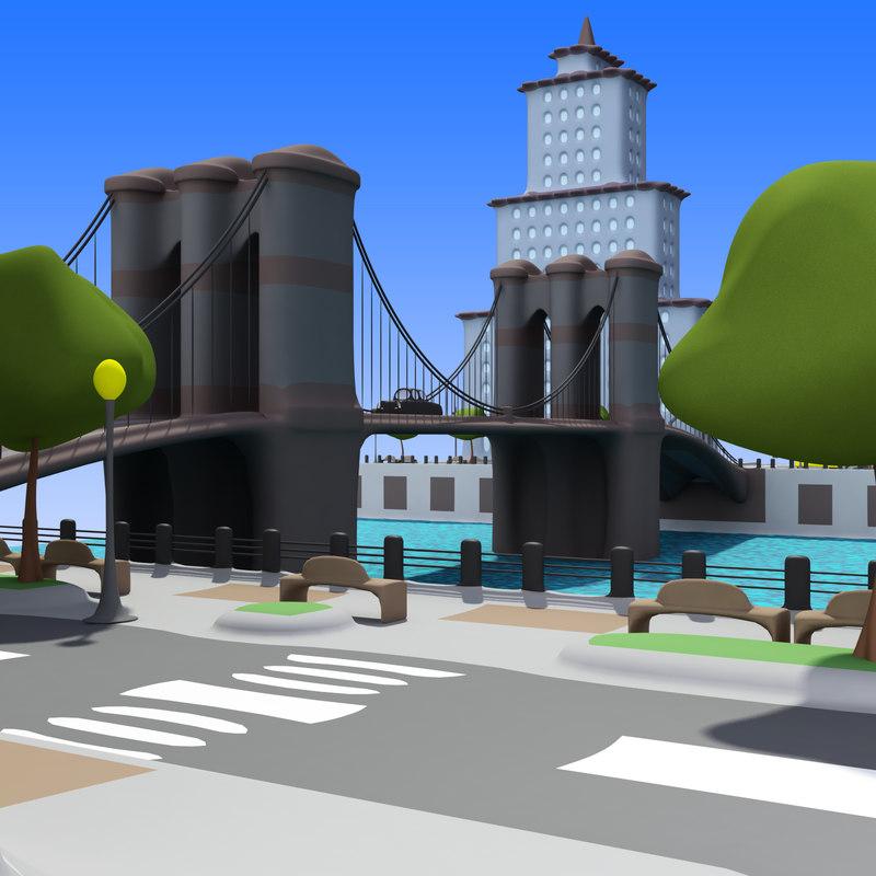 cartoon city: river city 3d max