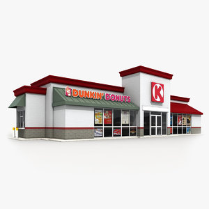 3d model circle k convenience store