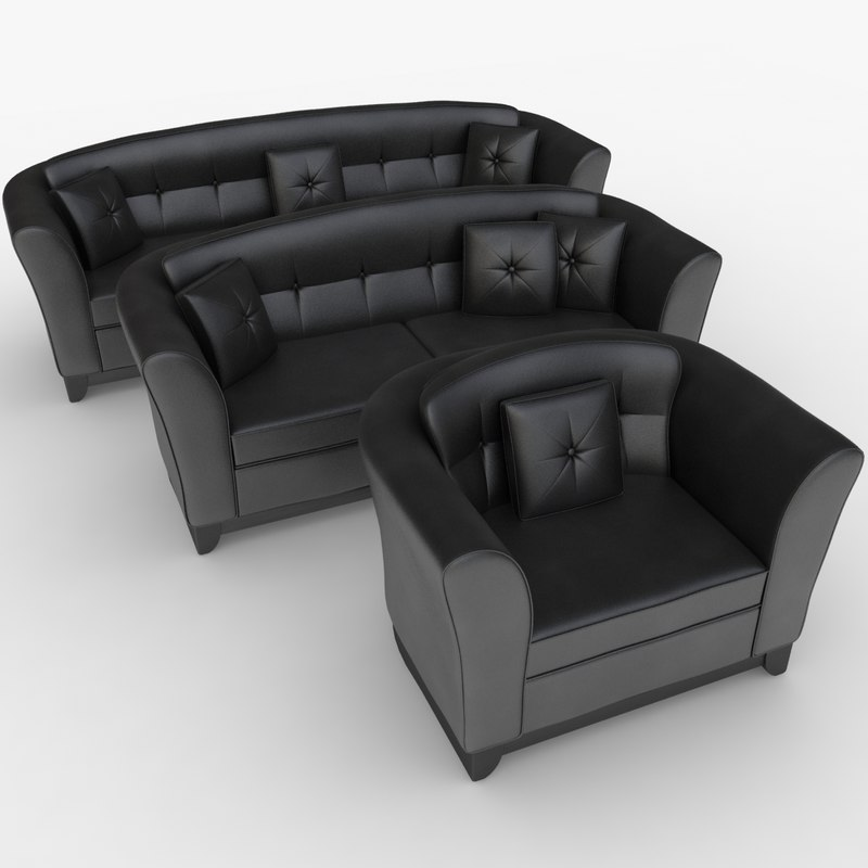 3d realistic leather sofa set