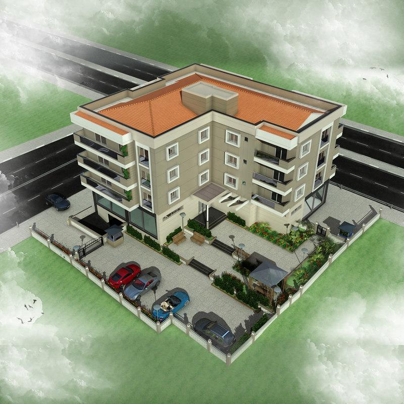 apartment building 3 3d 3ds
