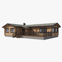 3d model log house exterior