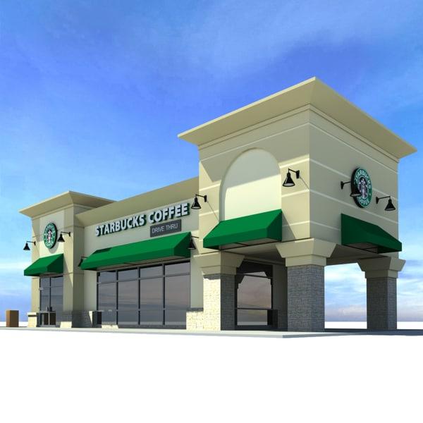 3d model starbucks coffee restaurant
