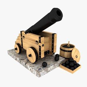 3d cannon artillery model